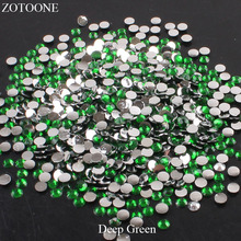 ZOTOONE FlatBack Resin Nail Art Non HotFix Deep Green Rhinestones Stones For Clothes DIY Strass Crystals Applique Decorations E