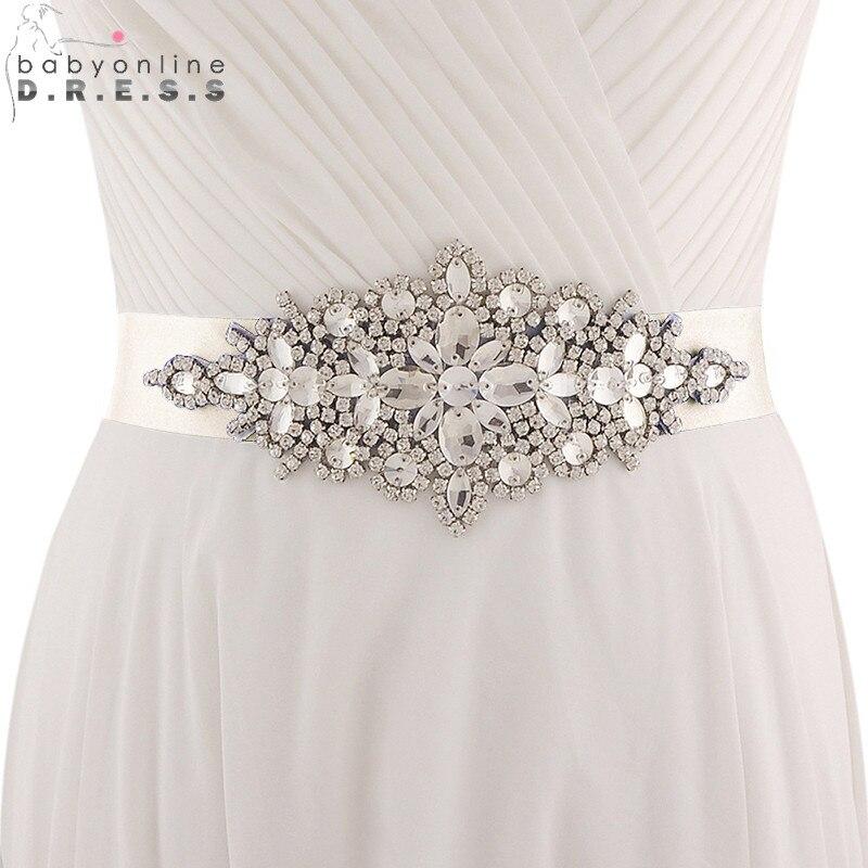 Wedding-Belt Beaded Rhinestone Ribbon Satin Crystals Novia Cheap Cinturon Babyonline