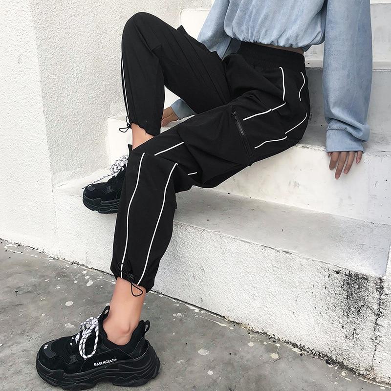 Harajuku Casual Black Cargo Pants Women Stripes Elastic High Waist Pants Capris Streetwear Korean Sweatpants Joggers