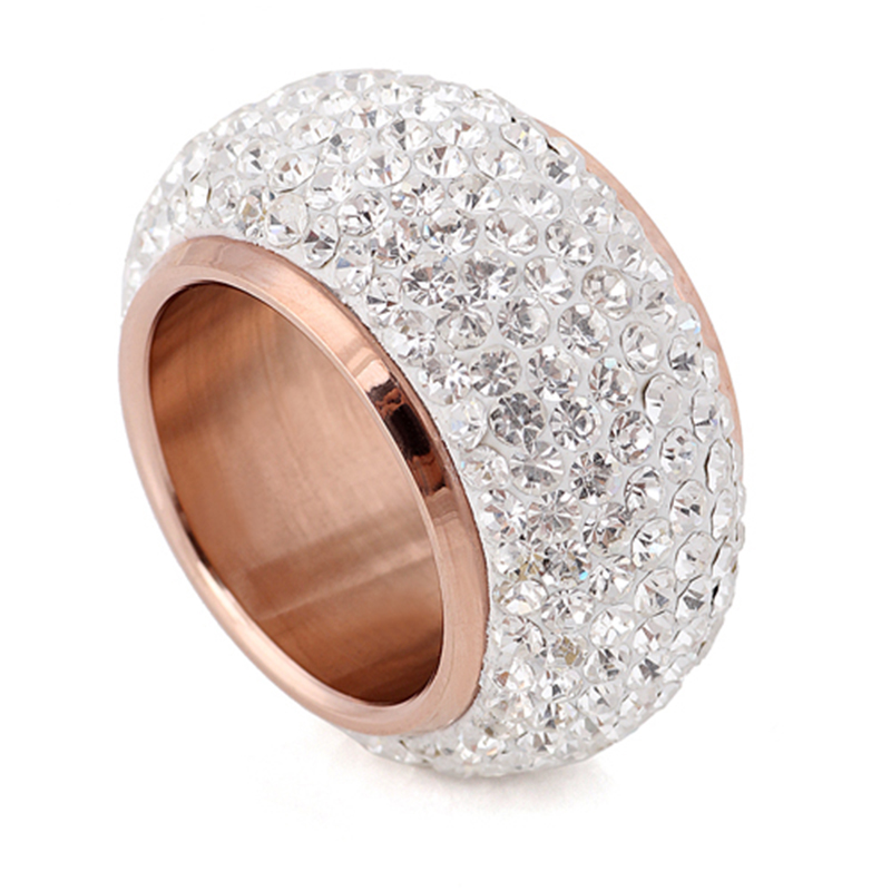 Wholesale shining full rhinestone finger rings for woman luxurious paragraph Crystal Jewelry Ring gold-color 5