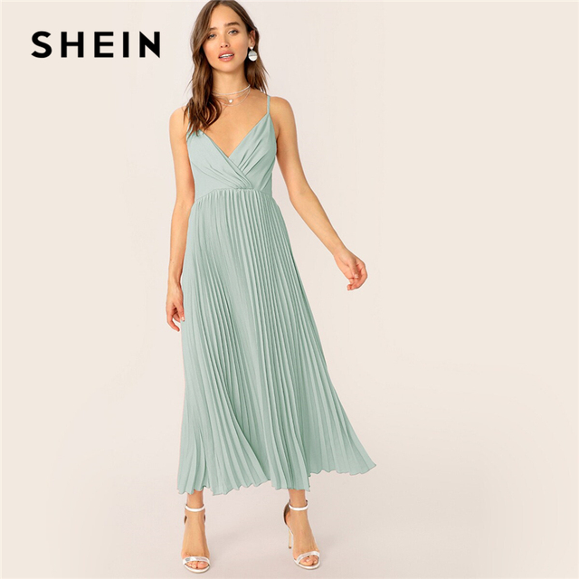 SHEIN Surplice Neck Pleated Cami Dress Summer Fit And Flare Dress Pink Pastel Romantic Women Sleeveless Spaghetti Strap Dresses