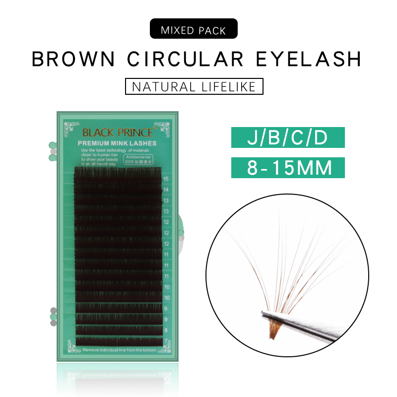 BLACK PRINCE  Brown Eyelash Extension JBCD Curl 7-15 Mix Length Individual Auburn Eyelash Extension Brown Lash For Salon Use