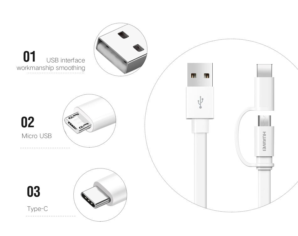 950_08P20 Pro Original Huawei 2 in 1 Micro USB Typc C Cable Fast Charger 2A 1.5M Type-C Charge Cable Honor 8 9 V9 P7 P8 P9 P10 lite_