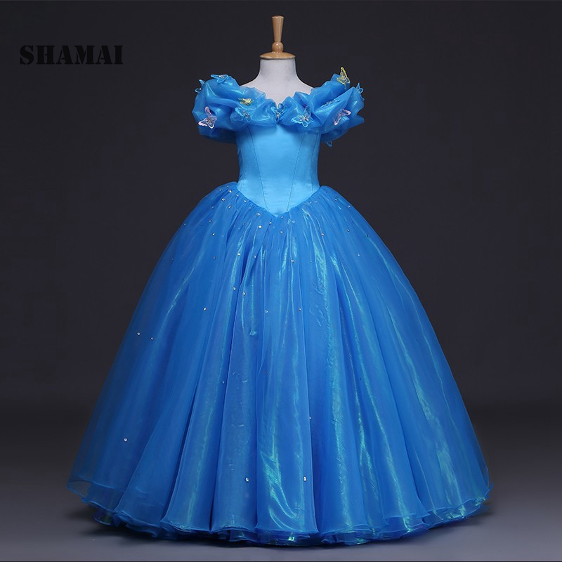 SHAMAI 2019 NEW Flower Girls Dresses Blue Butterfly cospaly Kids Formal Party Pageant Dress