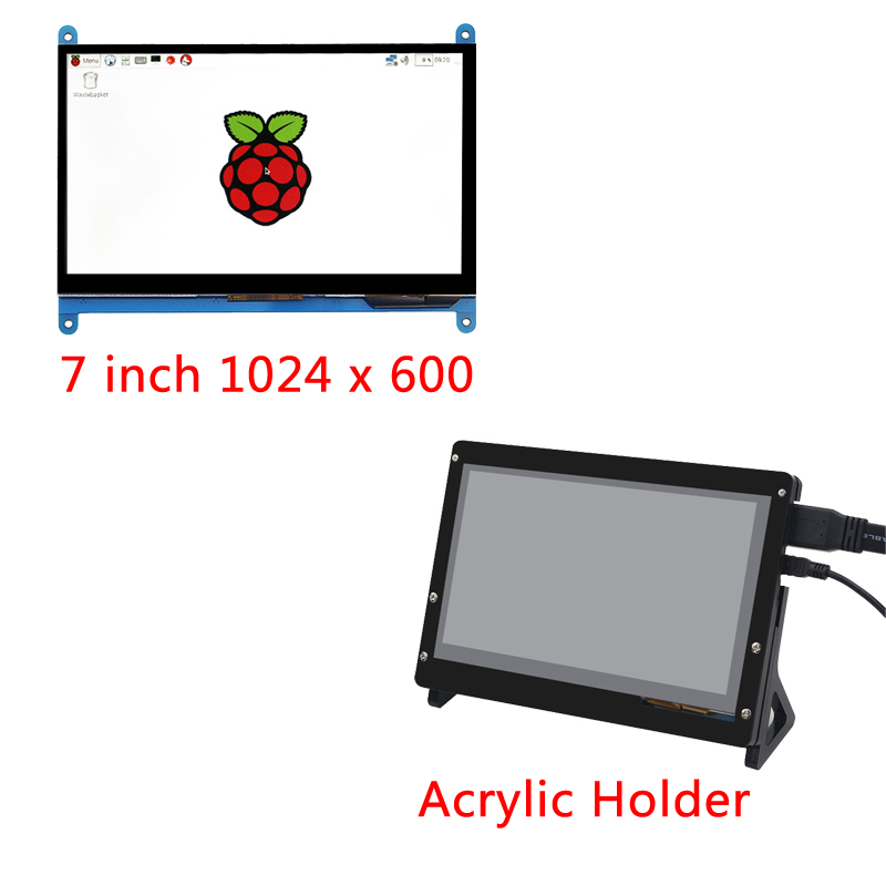 7 Inch Raspberry Pi 3B+ LCD Display Touch Screen LCD 1024*600 HDMI TFT Monitor + Acrylic Case Compatible With Raspberry Pi 3B
