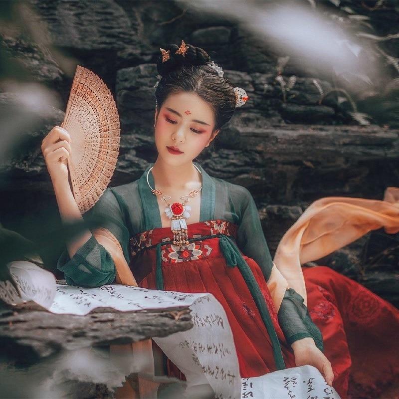 Classic Hanfu For Women Chinese National Dance Costume Singers Stage Wear Folk Dress Oriental Performance Festival
