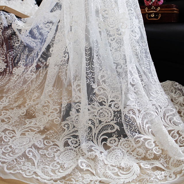 lentejuelas de gama alta telas de encaje bordado hecho a mano de la