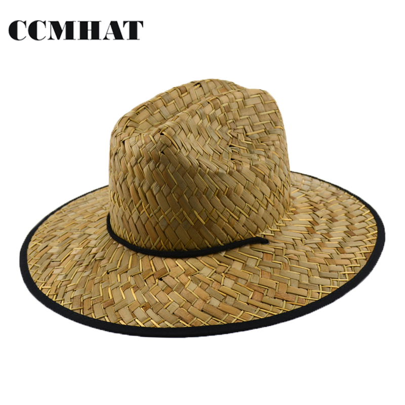 5 pcs/Carton Women Wide Brim Lifeguard Sun Hat Fashion Surf Wide Brim Straw Hat For Men Natural Adult Shade Sunscreen Straw Hat wide brim straw hat