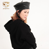 Joejerry Fashion Black Leather Beret Female French Beret Hat Winter Painter Hat For Women Spring Summer