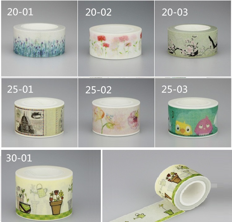 1Roll=20/25/30mm*10m Flower Leaves Pattern Japanese Washi Decorative Adhesive DIY Masking Paper Tape Label Sticker Wholesale
