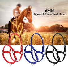 6MM Thickened Horse Head Collar Adjustable Safety Halter Bridle Headcollar Riding Racing Equipment Training Rope 3 colors