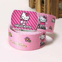 Детский тканевый ремень с рисунком из мультфильма для девочек; розовый ремень из полиэстера с пуговицами и рисунком «hello kitty»; Прочные повседневные поясные ремни для студентов