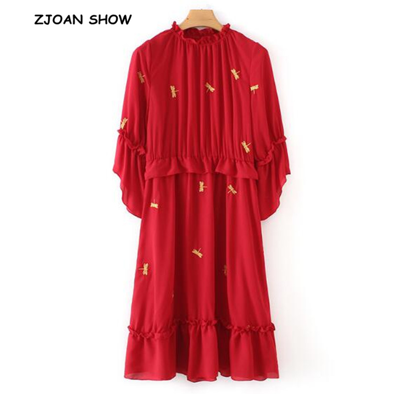 e37811c39a019 Vintage Chinese Style Stand Neck Three Quarter Sleeve Red Dragonfly ...