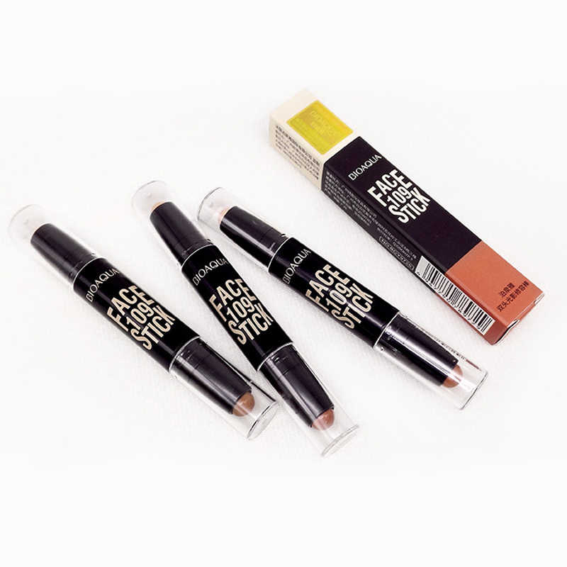 قلم تحديد الوجه ماركة BIOAQUA ذو الراس المزدوج ثلاثي الأبعاد برونزي وعصا تمييز قلم تحديد الوجه وعصا كريم الأساس قلم تحديد الوجه