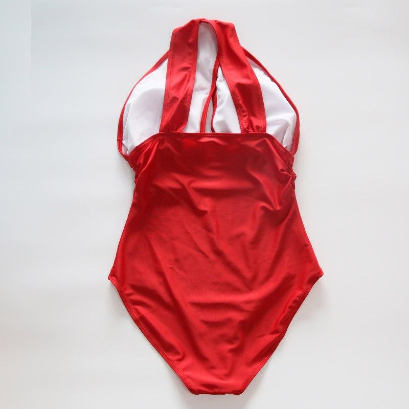 2017 Black Red Sexy Cross Halter women swimwear one piece swimsuit Black red Solid women bathing suits Beach Wear Swim 4