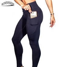 RONNYKISE High-elastic Long Pants Womens Fashion High Waist Pocket Slim Fit Fitness Gym Bodybuilding