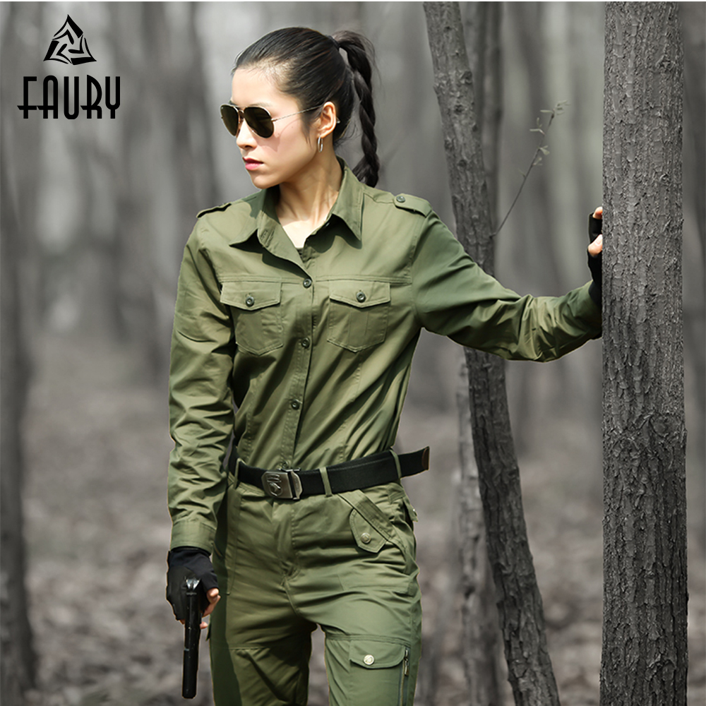 Women Military Uniform Cotton Tactical Army Combat Camouflage Set Tactico Jacket Cargo Pants Working CS Clothing Female