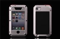 Полный новые оригинальные Экстрим металла алюминиевая Роскошный телефон случаях Грязь Шок всепогодный чехол для iPhone 4/4S + Gorilla Glass