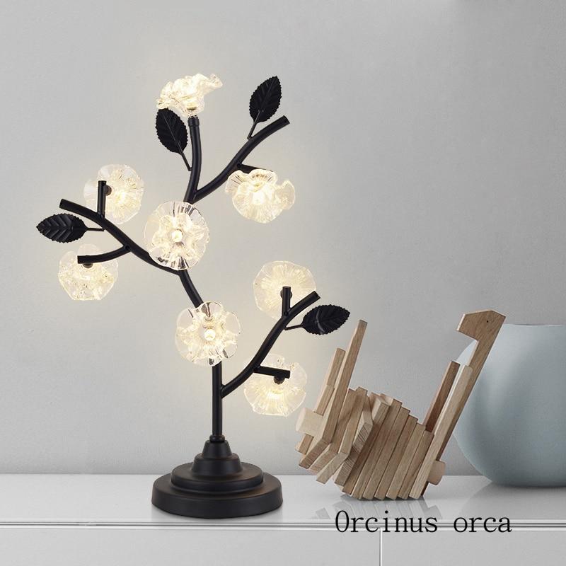 Postmodern simple tree LED crystal table lamp desk bedroom bedside lamp North Europe creative personality glass table lamp|LED Table Lamps| |  -