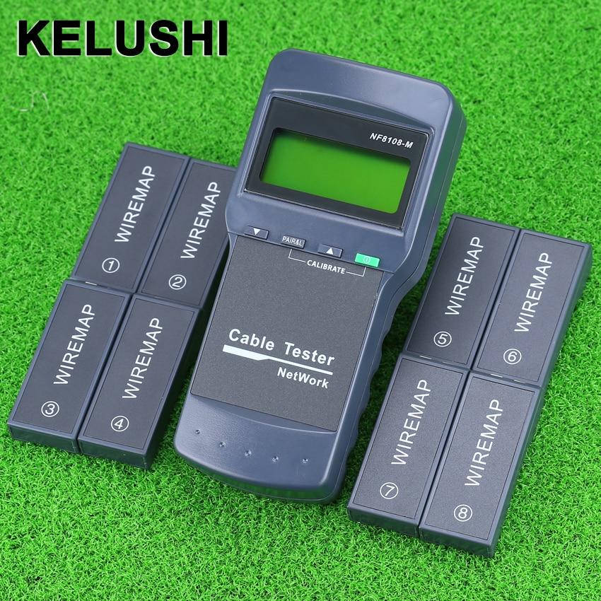 KELUSHI NF 8108 M Multifunction Network LAN Phone Cable Tester Meter Cat5 RJ45 Mapper 8 pc Far End Test Jack English operation