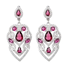 Free Shipping NEW Pure 925 Sterling Silver Earrings Silver Stylish Jewelry Pink Stone Drop Earrings TZ0041