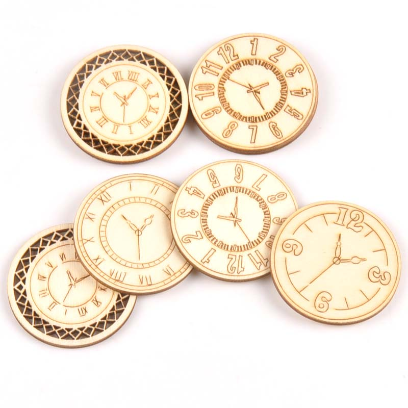8pcs Mixed Roundness Clock Pattern Wooden Scrapbooking Wood Decoration For Handmade Accessory Sewing Home Decoration M2144