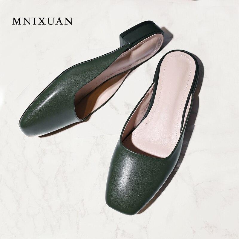 MNIXUAN grand-mère chaussures été nouvelles femmes pantoufles sandales 2018 rétro carré orteil en cuir véritable talons bas dames mules grande taille 34-43