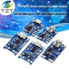 TZT тип-c/Micro USB 5V 1A 18650 TP4056 модуль зарядного устройства литиевой батареи зарядная плата с защитой двойные функции 1A li-ion