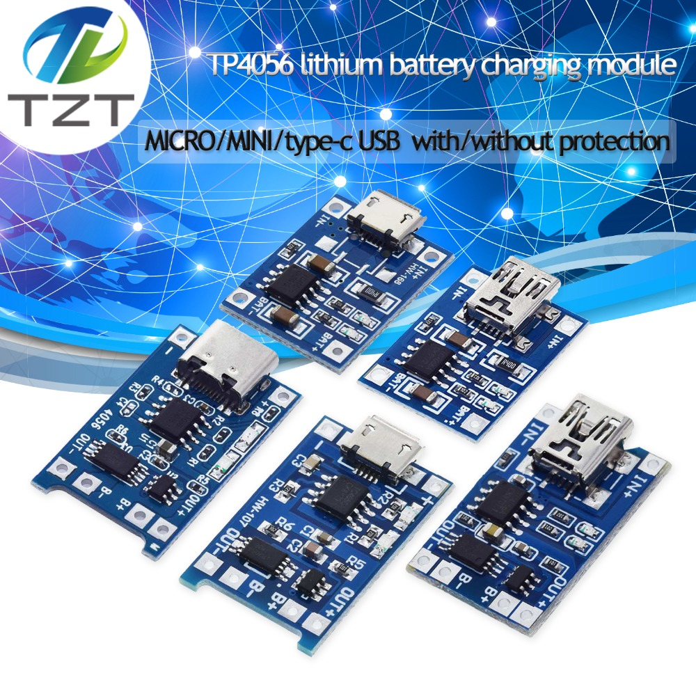 TZT Type-c / Micro USB 5V 1A 18650 TP4056 Lithium Battery Charger Module Charging Board With Protection Dual Functions 1A Li-ion