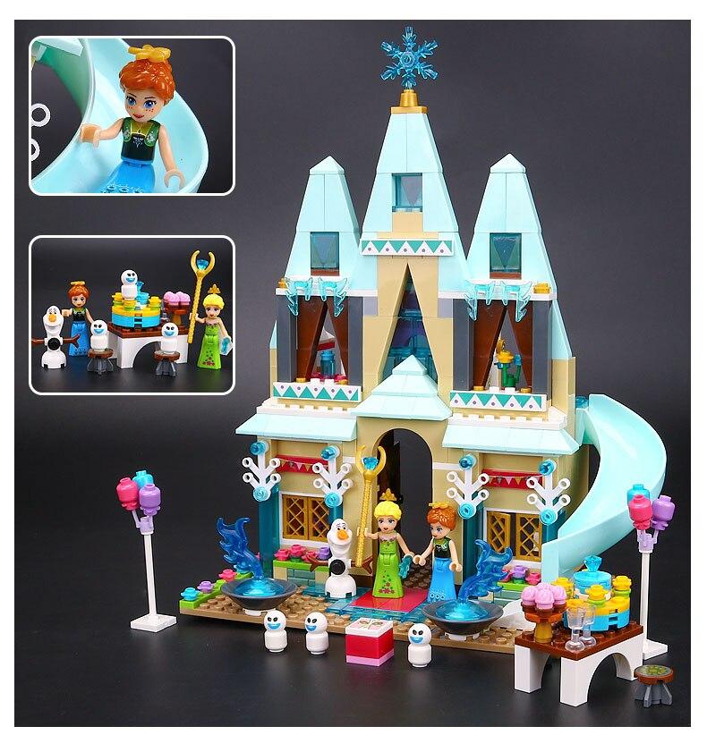 ФОТО 489pcs arendelle castle celebration princess series elsa anna building block minifigure girls toy lepin 41068