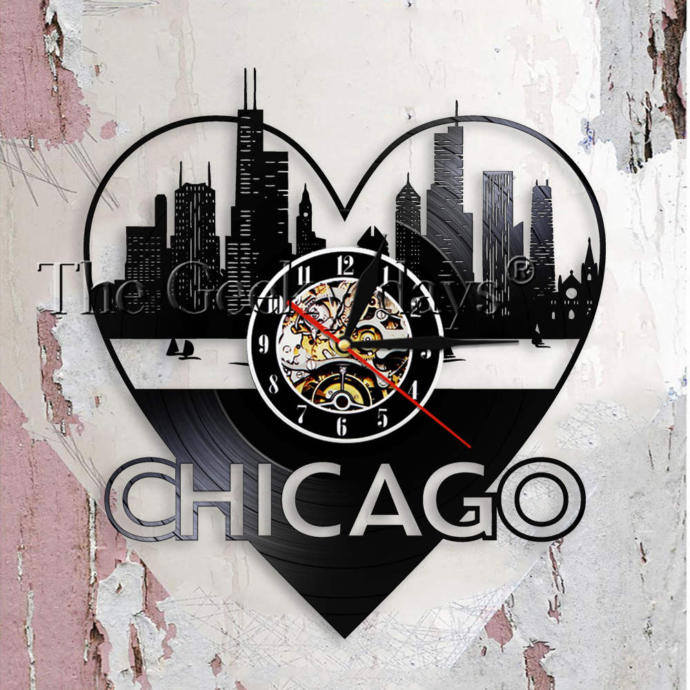 Chicago Home Decor Stores: Chicago City Architecture Wall Art Wall Clock Home Decor