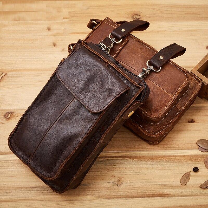 Crazy Horse Cowhide Men Hook Waist Bags Cell Phone Cigarette Bag Key Case Purse Pouch Genuine Leather Hip Bum Belt Fanny Pack