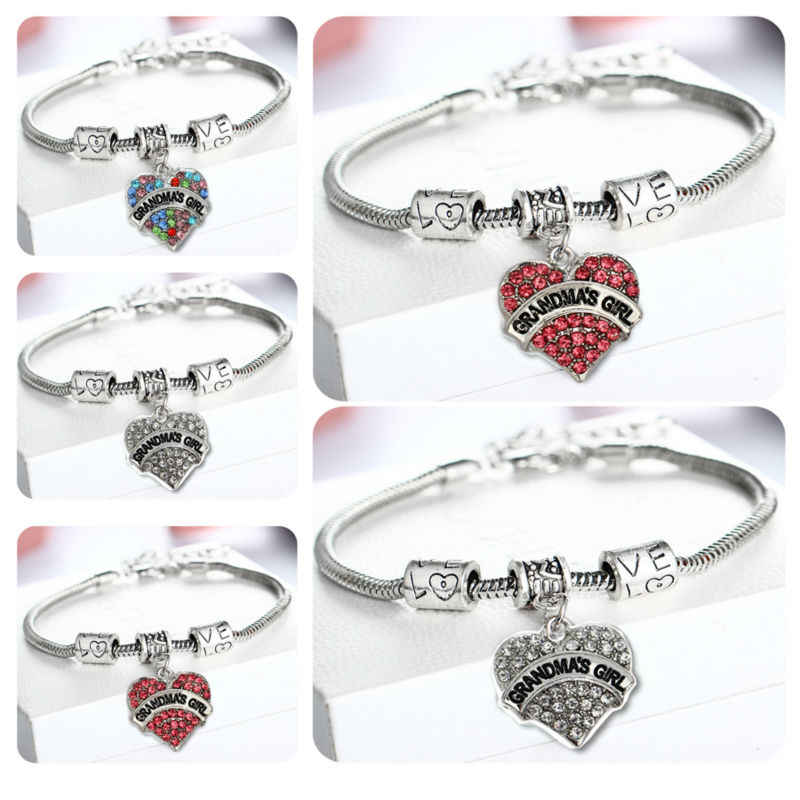 Lovely Retro Beads Crystal Heart Grandma Family Charm Bracelet Bangle Grandmother Gift Jewelry Presents Birthday