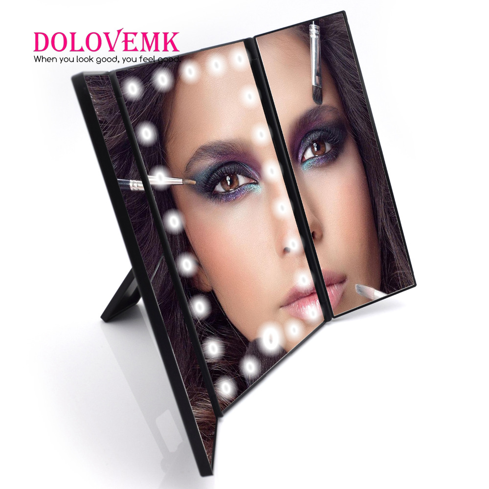 Dolovemk X2/X3 Magnifying LED Mirror Dimmable With 22 LED Lights Cosmetic Illuminated Tri-Fold w/ Stand Travel Compact Mirror 220v 10x desk clip on led illuminated green optical big magnifying glass led lamp folding stand large magnifier with led lights
