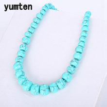 Yumten Turquoise Necklace Power Natural Stone Statement Coin Rainbow Crystal Choker Charm Chain Reiki Men Women Yoga Jewelry Bag(China)