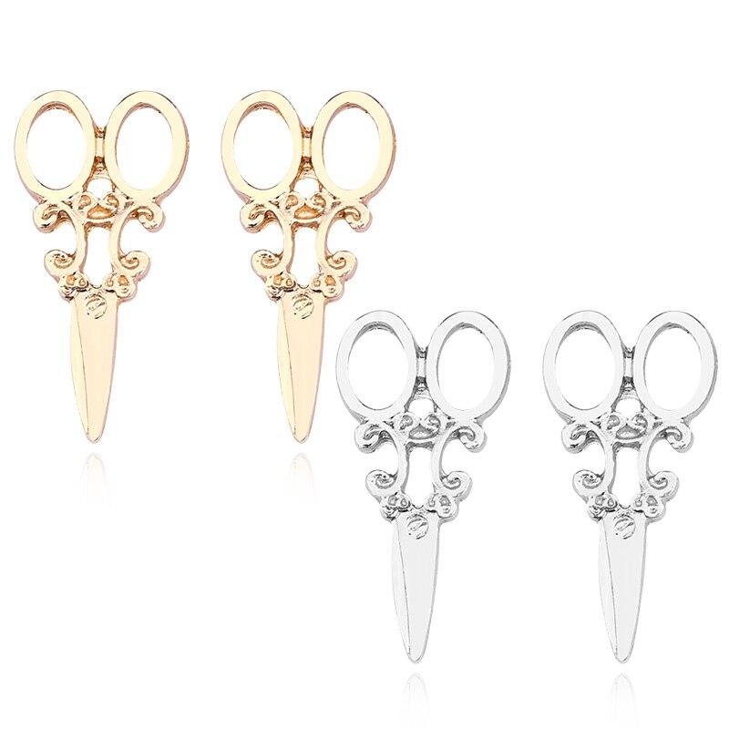 Creative Fashion Jewelry Korean Fashion Small Scissors Metal Earrings Charm Little Girl Versatile Exquisite Enamel Long Earrings