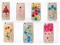 Sibaina secas real flor phone case para iphone 6 6 s plus 7 7 plus 5S se 5 transparente ultra fino disco pc tampa traseira Capa