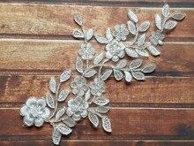 5 Pairs (10pcs)  Polyester Lace Mirror Motif Flowers Applique Trim Sewing Craft For Bridal Veil TT211