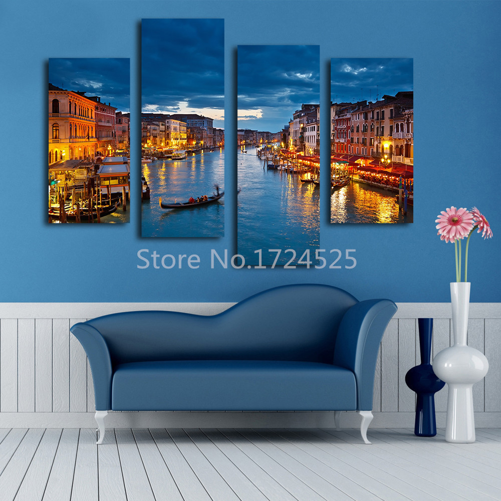 buy 2016 real wall art beautiful venice city canvas paintings modern water city. Black Bedroom Furniture Sets. Home Design Ideas