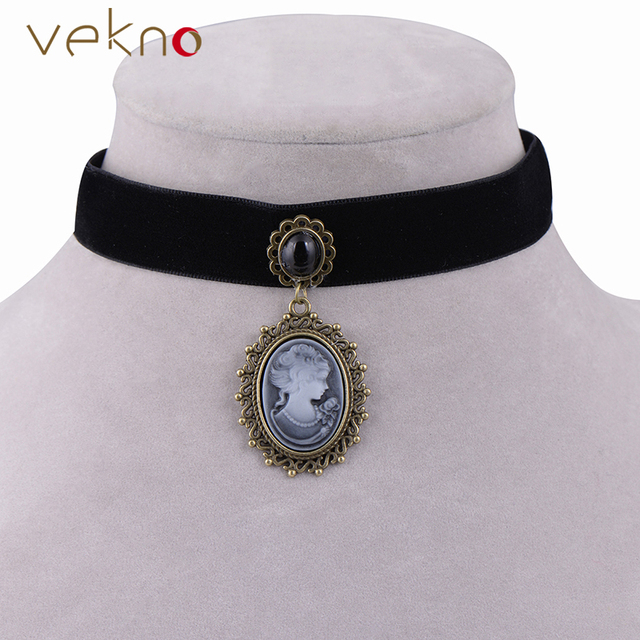 8f890b231 Vintage Cameo Necklace Gothic Jewelry Collar Style Black Ribbon Choker  Necklace Antique Princess Queen Pendants For