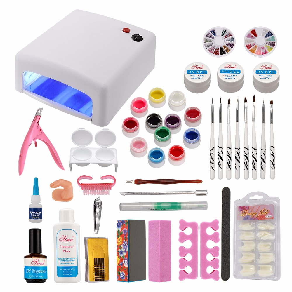 Russia Seller New Acrylic Nail Art Manicure Kit Nail Brushes Set White UV Lamp & 12 Color UV Gel Nail Art Tools Set Kits #33set цена
