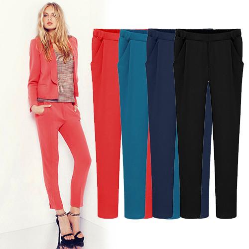 2014 Nueva moda Primavera Verano Otoño de colores ocasionales Del Caramelo pantalones femeninos pantalones de harén Más tamaño pantalones de las mujeres 8058
