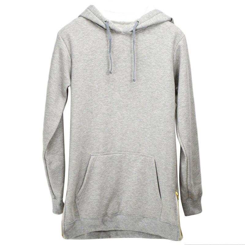 Warm Fleece Mens Hoodies Sweatshirts Long Loose Oversized Sweat Shirt Hip Hop Men Hooded Pocket Tracksuit Split Male Coat