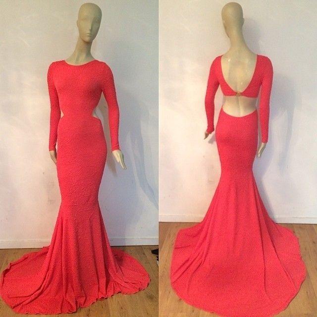 Vestido De Festa vestido de noiva 2018 Sexy Michael Costello Crew Neck Cutout long sleeve Party Prom Gown bridesmaid dresses