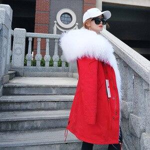 Image 2 - MAOMAOKONG abrigo de invierno de manga larga para mujer, abrigos de exterior holgados de gran tamaño de mongolia Natural, Cuello de piel de oveja, Parka larga, chaqueta de mujer