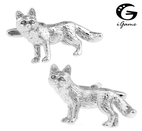 IGame Fox Cuff Links Silver Color Brass Material Novelty Animal Design Free Shipping