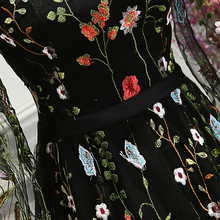 Weekend Evening Dresses Embroidery Flower Long Sleeves Black Women abendkleider Formal Wedding Party Dress Prom Gowns