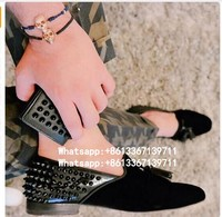 Genuine Leather Leopard Black Spikes Mens Loafers Shoes Slip On Casual Flats Wedding Shoes Rivets Real