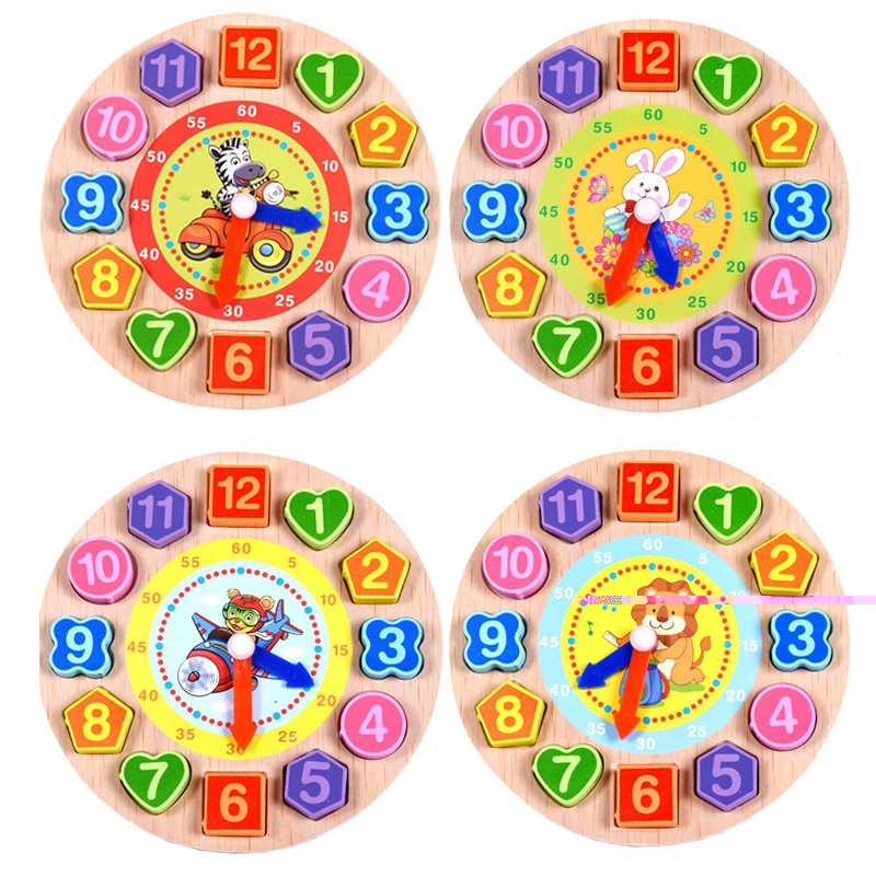 1set clock toys 4 models kids DIY animals wood 3d puzzles cartoon educational toys for children pearls wooden digital clock toys