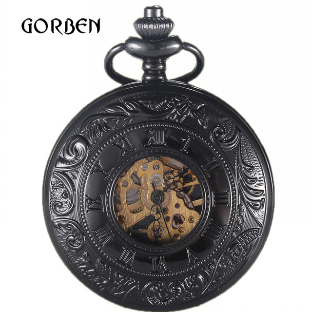 f8959ada02e0 Luxury engraving Skeleton 2 Sides Open Case Vintage Pocket fob Watches  Steampunk Mechanical Pocket Watch Chain